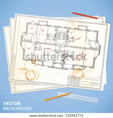 Architectural papers with sketches and pencils on the blue millimeter paper - stock vector