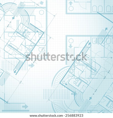 Architectural plan background. Project, architectural plan and technical project and construction plan. Vector illustration - stock vector