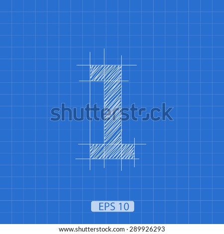 architectural plan the number one on a blue background - stock vector