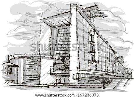 Architectural sketch. Illustration. - stock vector
