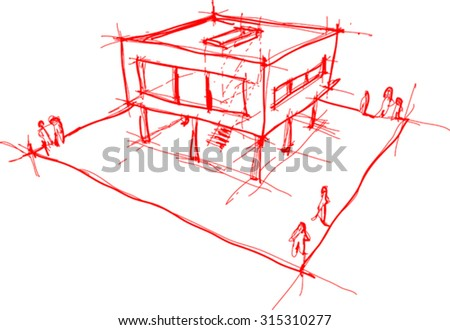 architectural sketch of modern house with no background - stock vector