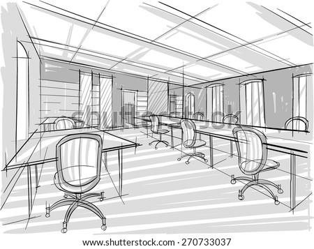 Architectural Sketch of office. Chairs - stock vector