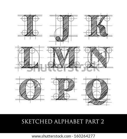 architectural sketched letters set 2 - stock vector