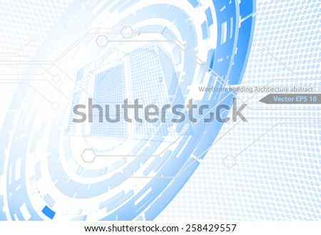 Architecture abstract,wireframe building scene vector background - stock vector