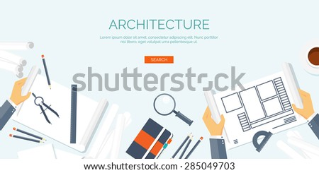 Architecture and design. Paperwork. Project. Building and planning. - stock vector