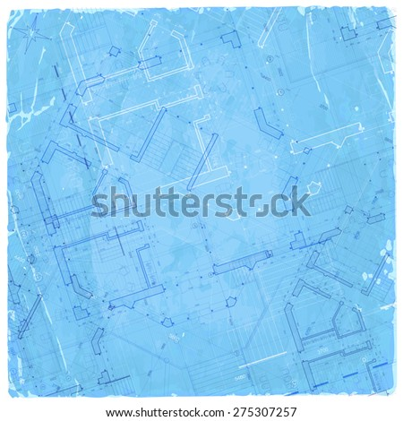 architecture blueprint - house plan / vector illustration / Eps10 - stock vector