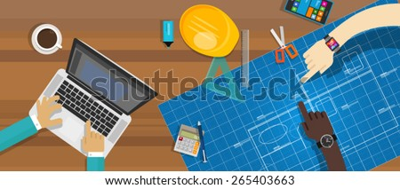 architecture construction desk - stock vector