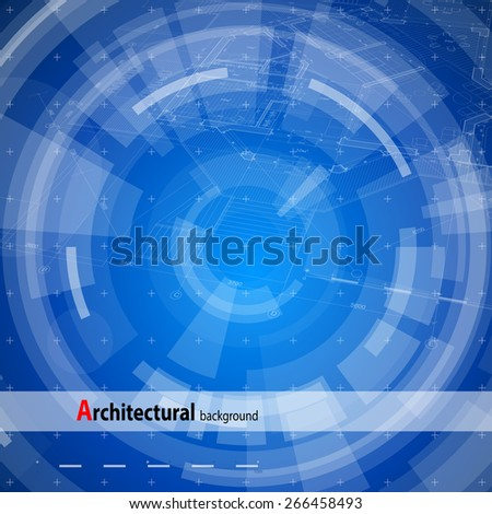 Architecture design: blueprint house plan & blue technology radial background - vector illustration - stock vector