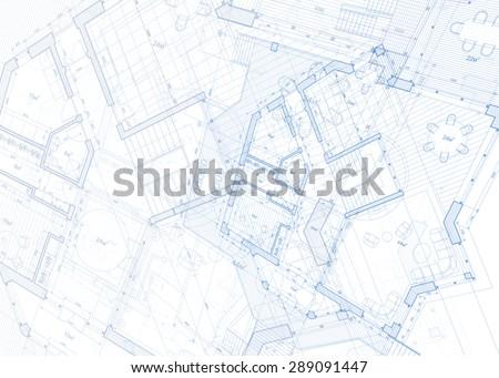 Architecture design: blueprint - vector illustration - stock vector