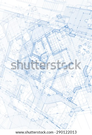 Architecture design: blueprint - vector illustration - stock vector