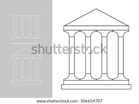 Architecture greek building symbol - stock vector