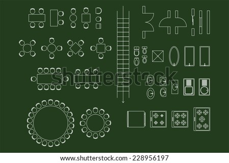 Architecture Icons For Plan Design On Green Chalkboard - stock vector