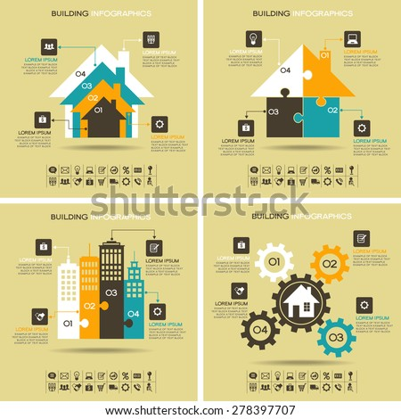 Architecture infographics. Four abstract pattern with houses, business icons, text and numbers. File is saved in AI10 EPS version. This illustration contains a transparency  - stock vector