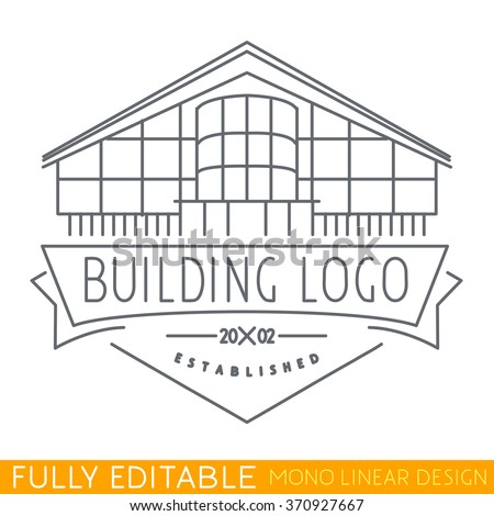 Architecture. Logo of building. Modern thin line logo template. Fully editable curves. Mono linear pictogram of outline emblem. Stroke vector icon concept. - stock vector