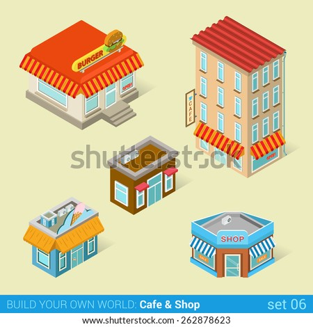 Architecture modern city business buildings icon set flat 3d isometric web illustration vector. Business center mall public government and skyscrapers. Build your own world web infographic collection. - stock vector