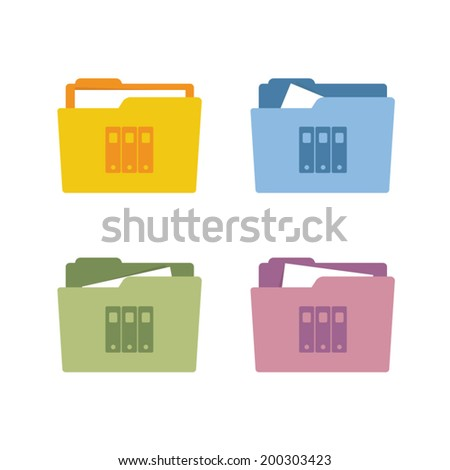 Archive icon on a folder - stock vector