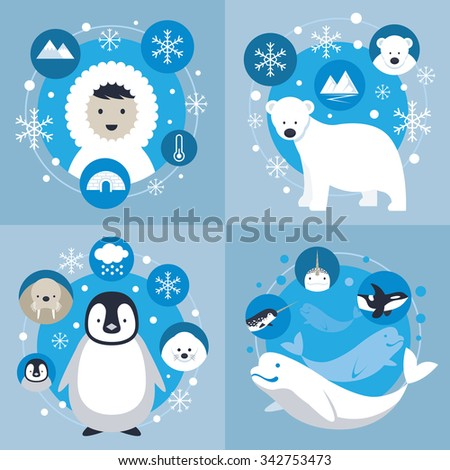 Arctic Characters and Icons Set, Winter, Nature Travel and Wildlife - stock vector