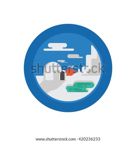 Arctic Landscape Illustration - Flat Icon - stock vector