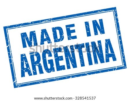 Argentina blue square grunge made in stamp - stock vector