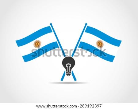 Argentina Emblem Crossed Flags Need Idea - stock vector