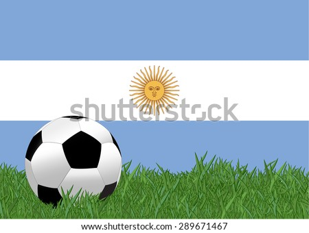 argentina flag with soccer ball on the yard,eps10 - stock vector