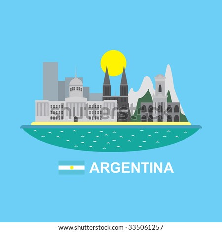Argentina infographic with famous buildings - stock vector