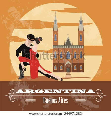 Argentina landmarks. Retro styled image. Vector illustration - stock vector