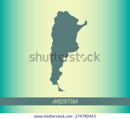 Argentina map outlines on an abstract background for designing brochure template, advertising design for tourist map, and web-page template or construction - stock vector