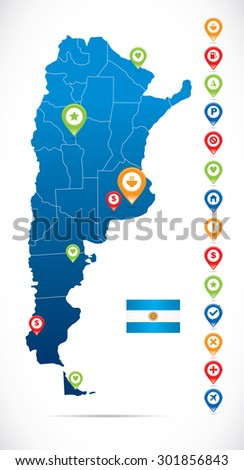 Argentina Map with navigation icons - stock vector
