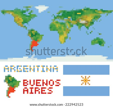 Argentina on physical world map, shape flag and capital buenos aires isolated on white - stock vector