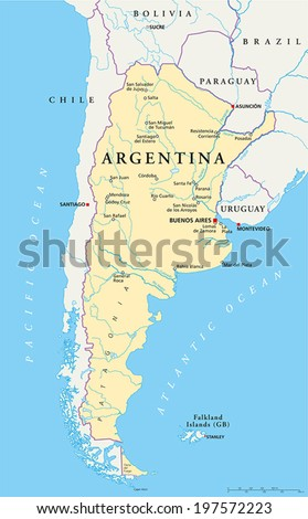 Argentina Political Map with capital Buenos Aires, national borders, most important cities, rivers and lakes. Vector illustration with English labeling and scaling. - stock vector