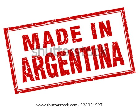 Argentina red square grunge made in stamp - stock vector