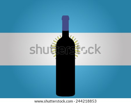 Argentine Flag with a Bottle of Wine EPS10 - stock vector