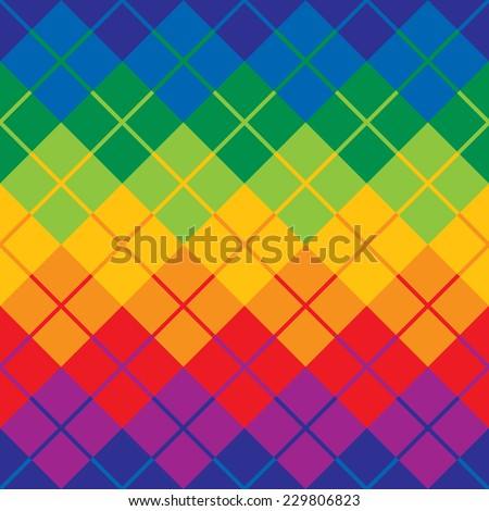 Argyle pattern in primary and secondary colors repeats seamlessly. - stock vector