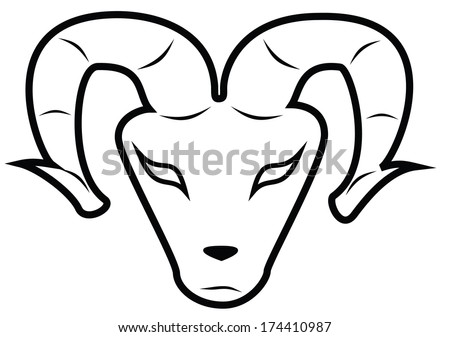 Aries - Ram A more abstract version of an Aries' head as a symbol of the Aries zodiac, but also perfectly usable as an abstract ram's head. - stock vector