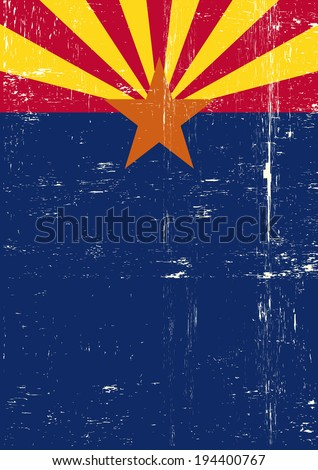 Arizona poster. A grunge vertical flag of arizona for your publicity. - stock vector