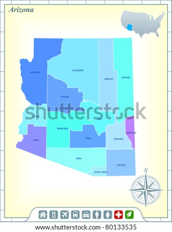 Arizona State Map with Community Assistance and Activates Icons Original Illustration - stock vector