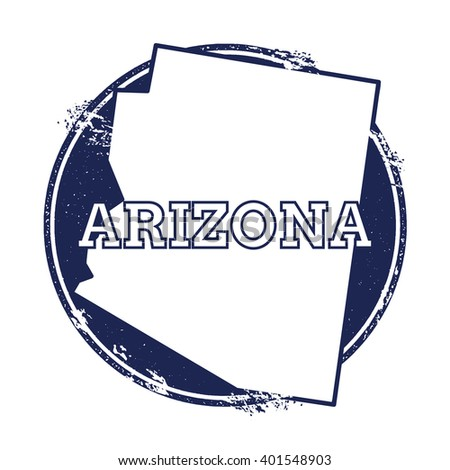 Arizona vector map. Grunge rubber stamp with the name and map of Arizona, vector illustration. Can be used as insignia, logotype, label, sticker or badge of USA state. - stock vector