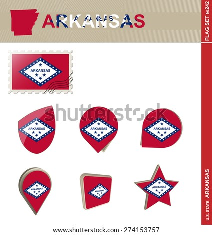 Arkansas Flag Set, US state, Flag Set #242. Vector. - stock vector