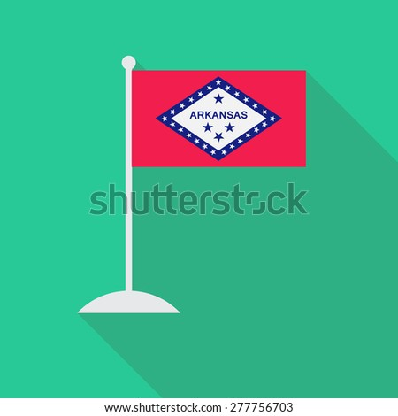 Arkansas flag with flagpole flat icon with long shadow. Vector illustration EPS10 - stock vector