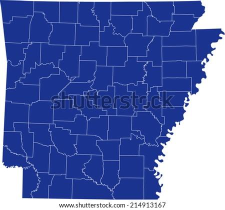 Arkansas Map - stock vector