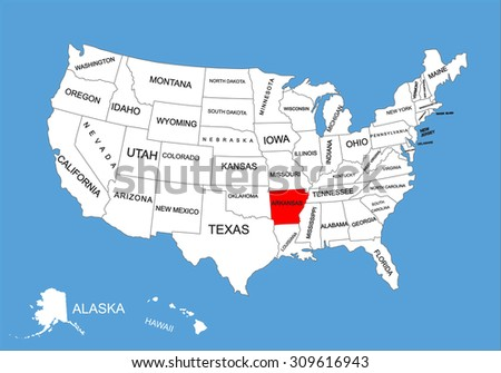 Arkansas State, USA, vector map isolated on United states map. Editable blank vector map of USA. - stock vector