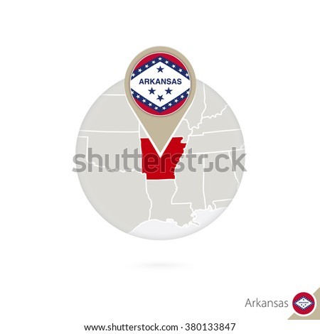 Arkansas US State map and flag in circle. Map of Arkansas, Arkansas flag pin. Map of Arkansas in the style of the globe. Vector Illustration. - stock vector