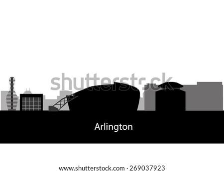 Arlington, Texas (city skyline) - stock vector