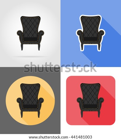 armchair furniture set flat icons vector illustration isolated on white background - stock vector