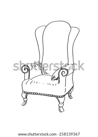 Armchair lineart - stock vector