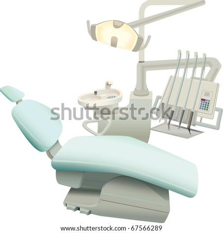 armchair of the patient and the necessary equipment for the dentist - stock vector