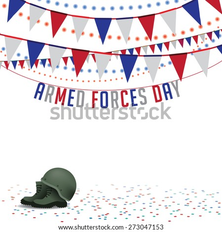 Armed Forces Day bunting background EPS 10 vector royalty free stock illustration for greeting card, ad, promotion, poster, flier, blog, article, social media, marketing - stock vector