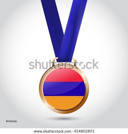 Armenia Flag in Bronze Medal. Olympic Game Bronze Medal. Vector Illustration - stock vector