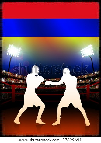 Armenia Flag with Boxer on Stadium Background Original Illustration - stock vector